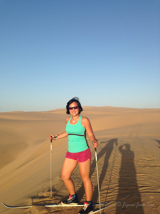 Skiing on the sand dunes