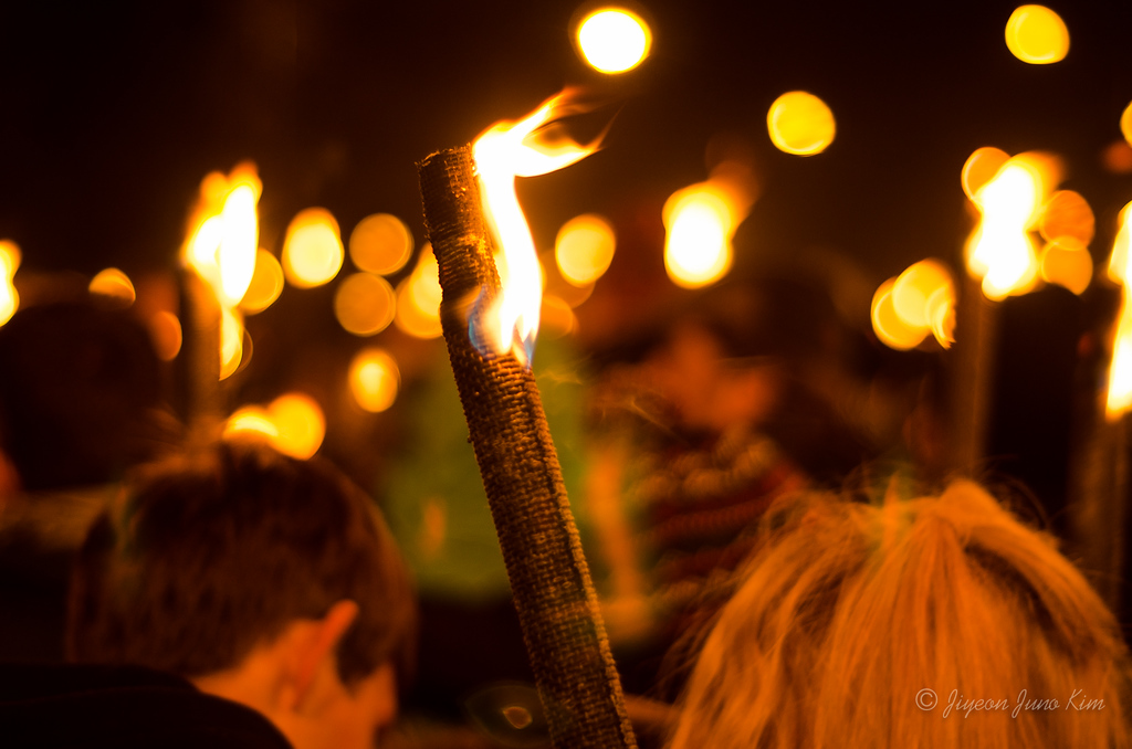 Torchlights on the first day of Edinburgh's Hogmanay